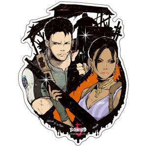 Capcom x B-SIDE LABEL Sticker - Resident Evil / Biohazard Chris & Sheva [Goods]