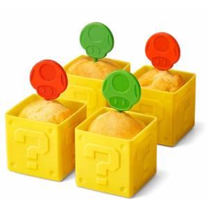 Super Mario Home & Party Muffin Cup (Hatena Block) & Pick (Super Mushroom / 1UP Mushroom) [Goods]