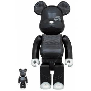 BE@RBRICK / Bearbrick  NIKE SB 2020 BLACK 100% & 400% 2PC Limited Set [Medicom Toy]