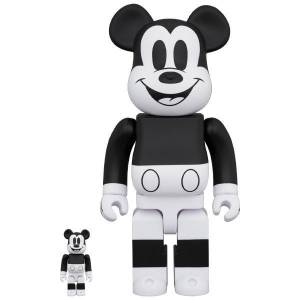BE@RBRICK / Bearbrick MICKEY MOUSE (B&W 2020 Ver.) 100% & 400% 2PC Limited Set [Medicom Toy]