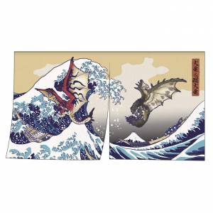 Monster Hunter - Ukiyoe Noren Curtain Rathalos & Rathian x Fugaku [Goods]